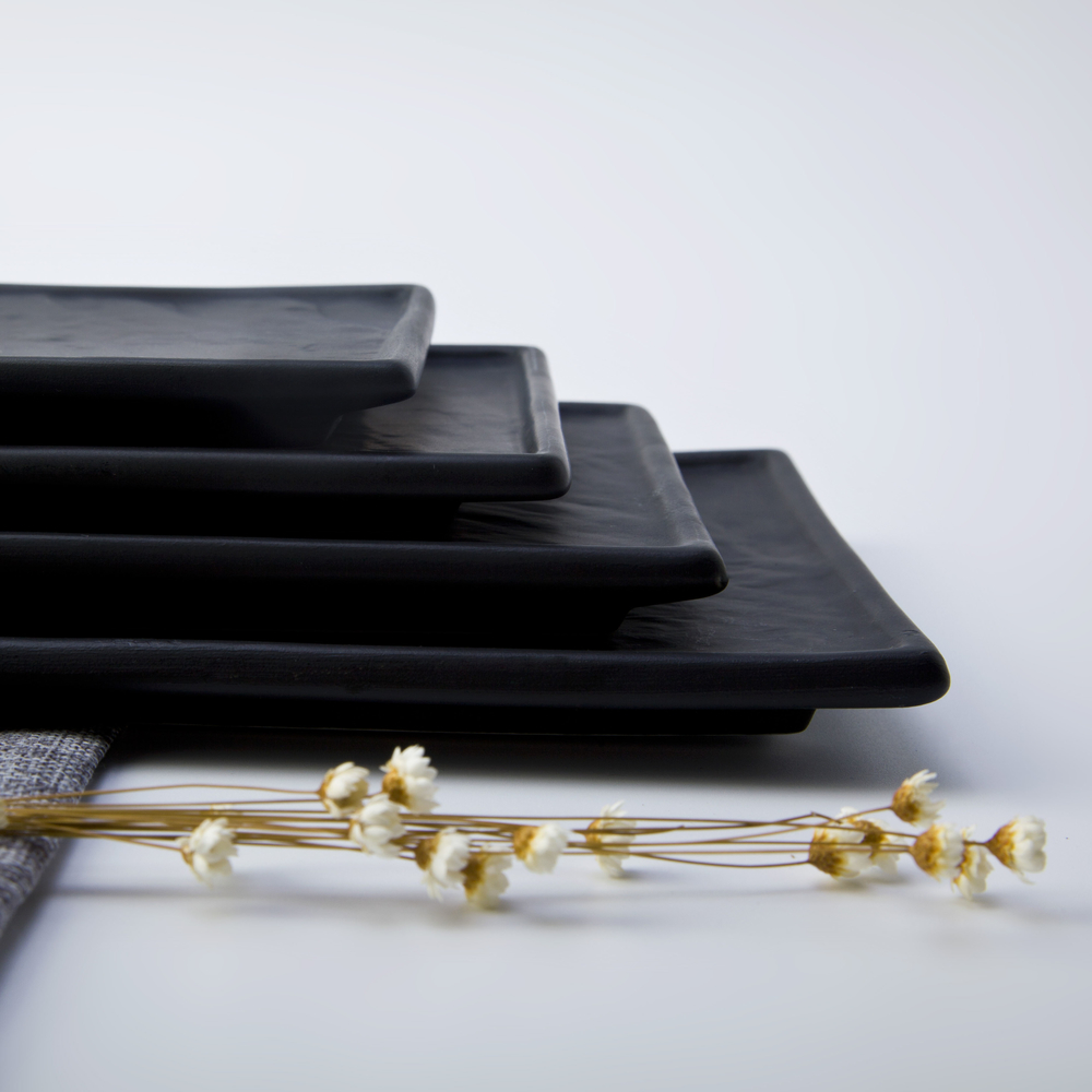 New Product Black Matt Porcelain Plate, Best Quality Easy Clean Rect Restaurant Plate~