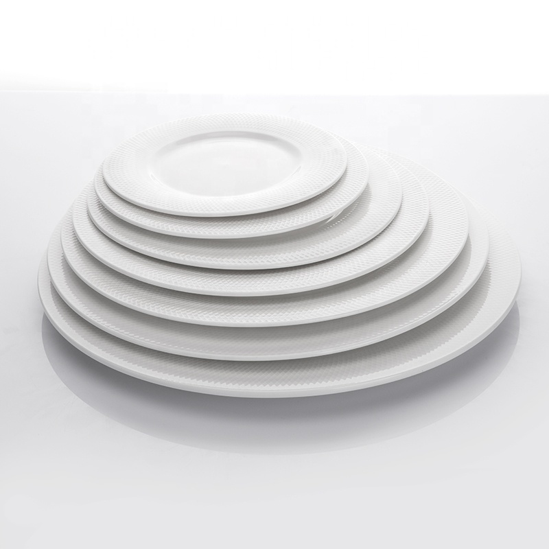 New Product Ideas 2019 Innovative for Hotels White Plates Ceramic Buffet Ware, Grid Design Crockery Tableware Flat Plate^
