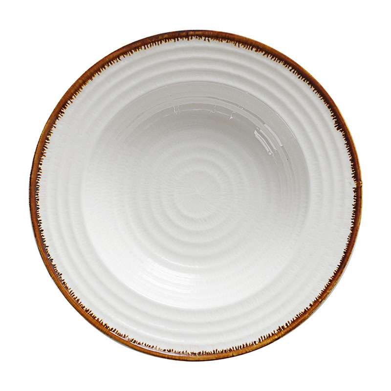 Wholesale High Quality Restaurant Catering White Porcelain 9.25 Inch Ceramic Soup Plate