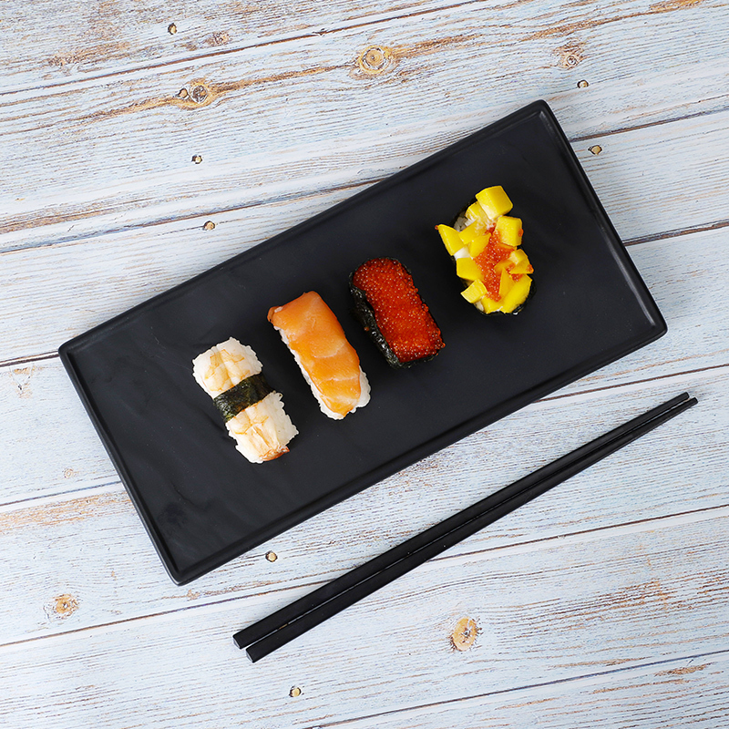 Innovative Products Japanese Hotel Best Seller Black Caviart Sushi Dish, Porcelain Ceramic Rectangular Plate&