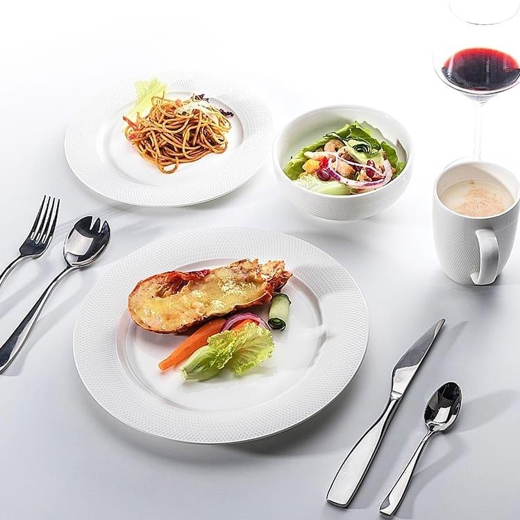 28 Dinnerware Wholesale Dinner Plates, Girls 9 Inch White Ceramic Plate Set, Disk Bulk Ceramic White Porcelain