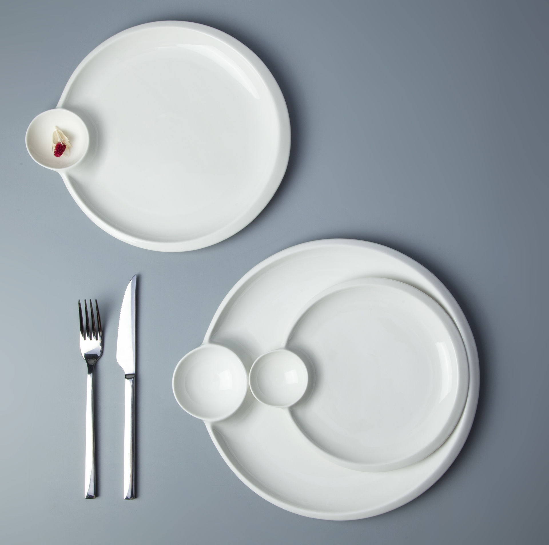 Chaozhou porcelain set wholesale ceramic round bulk dinner plate attached with sauce dish