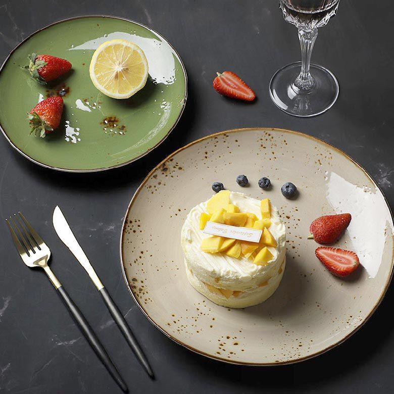 Color Glaze Vajilla Gourmet Cafe Plates, Porcelain Plates Sets Dinnerware, Special Resort Vajilla Gourmet Dishes For Restaurant@