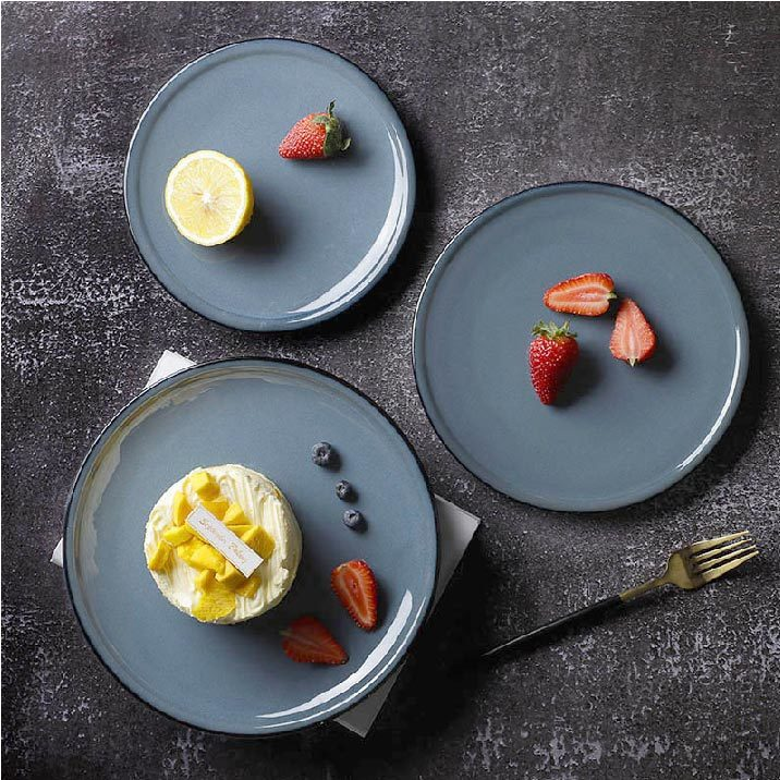Rustic Cafe Crokery Dining Plates, Special Ceramic Used Restaurant Plates, Fine Resort Porcelain Blue Plate@