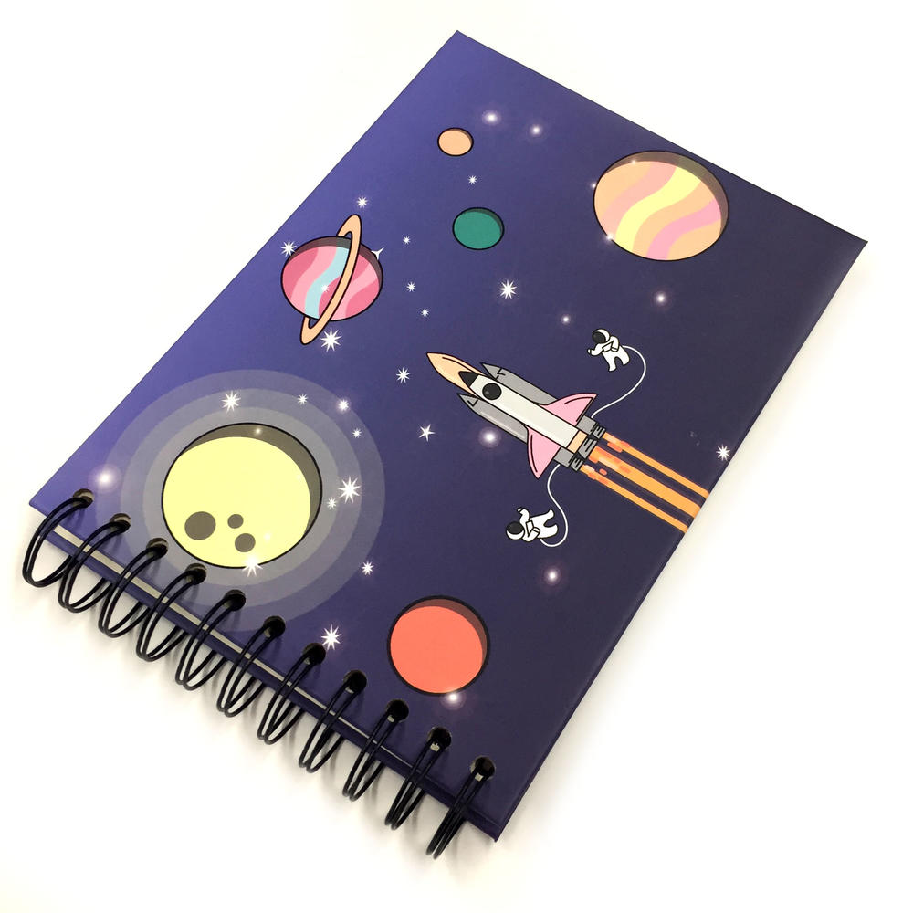 Rocket Planet Theme 4x6 Small Scrapbook Photo Album With 20 DIY Stick Pages