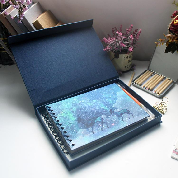 Custom logo sprial binding blue adhesive scrapbook photo album