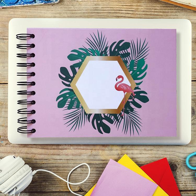 product-2020 Silver Spiral Binding Flamingo Photo Album With Self Adhesive Pages for Memories-Dezhen-1