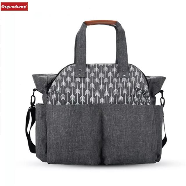 Osgoodway High Capacity Korean Style Fashion Waterproof Custom Logo Mummy Baby Diaper Bag for Mom
