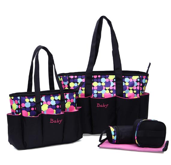 Osgoodway2 Fashion Printed Dot Pattern Mummy Baby Tote Travel Bag 5pcs Diaper Bag Set