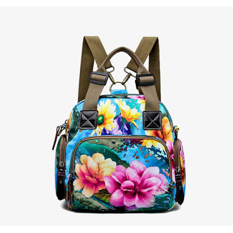 Osgoodway2 Waterproof Nylon Designer Floral Women Handbags Baby Diaper Bag Backpack for Mom