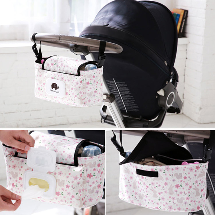 product-Osgoodway2 Outdoor Canvas Stroller Bag Baby Stroller Organizer Hanging Bag With Tissue Pocke-1
