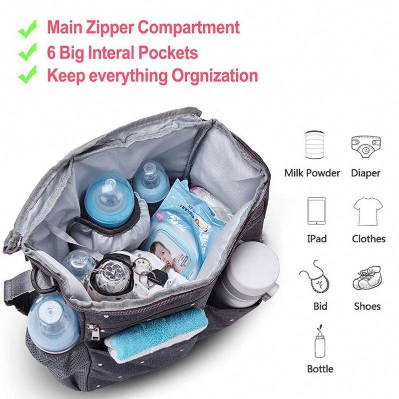 product-Osgoodway Custom Diaper Bag Organizer Hanging Baby Stroller Bag with Insulated Bottle Holder-1