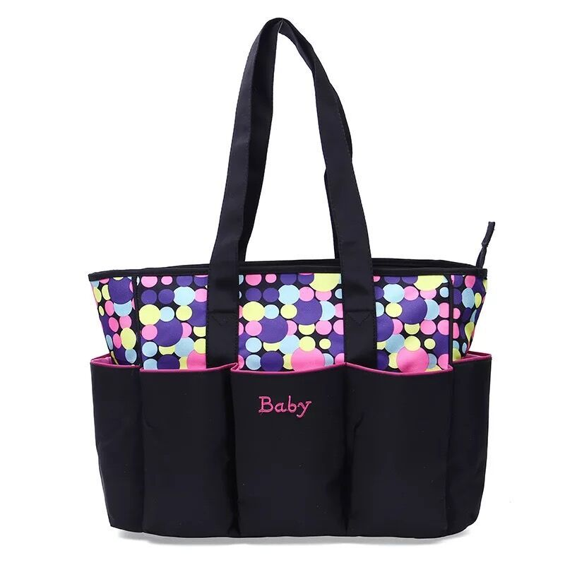 product-Osgoodway-Osgoodway2 Fashion Printed Dot Pattern Mummy Baby Tote Travel Bag 5pcs Diaper Bag