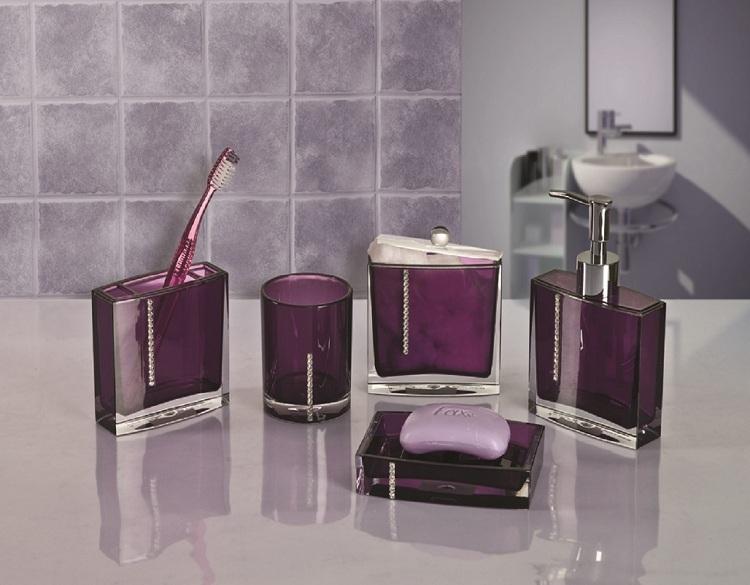 Purple Cheap Clear Acrylic Bathroom Accessories Sets