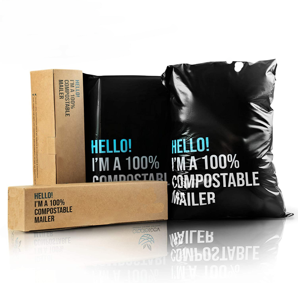 Earth Friendly, Extra Thick, Stretchable, Weatherproof,100% Compostable Poly Mailer, Biodegradable Black Mailing Envelopes