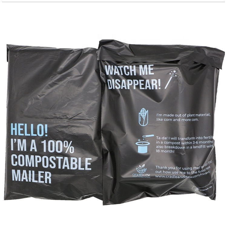 cornstarch biodegradable custom printed poly courier delivery mail shipping bag non-plastic