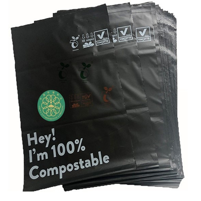 Customized Color and Logo on Compostable Plastic Garbage Bags Biodegradable PLA Trash Bag