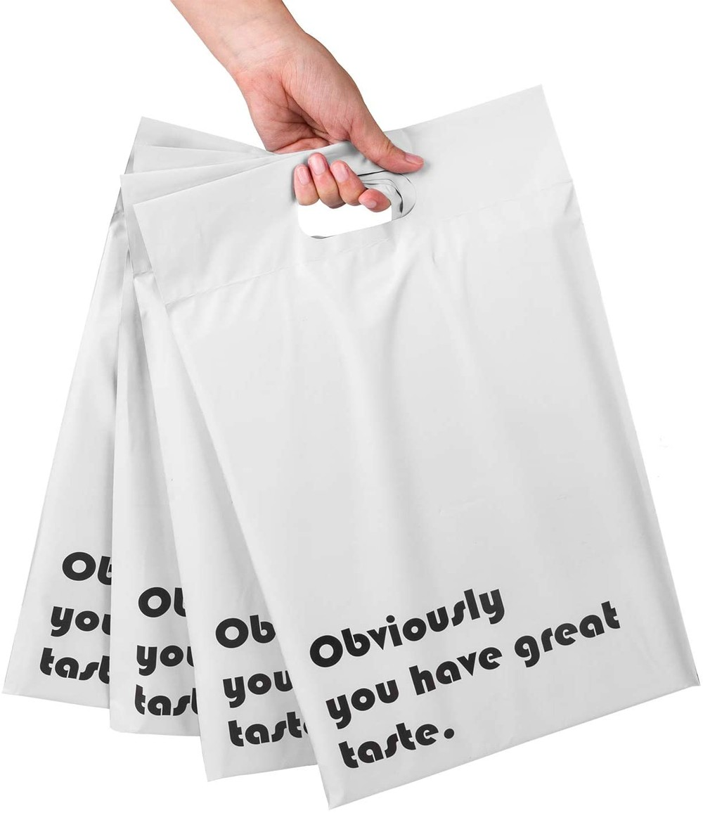 Compostable PLA Mailers White with Build-in Handle Shipping Bags 3 Mil Pretty Thick Self Adhesive Mailing bags Envelopes