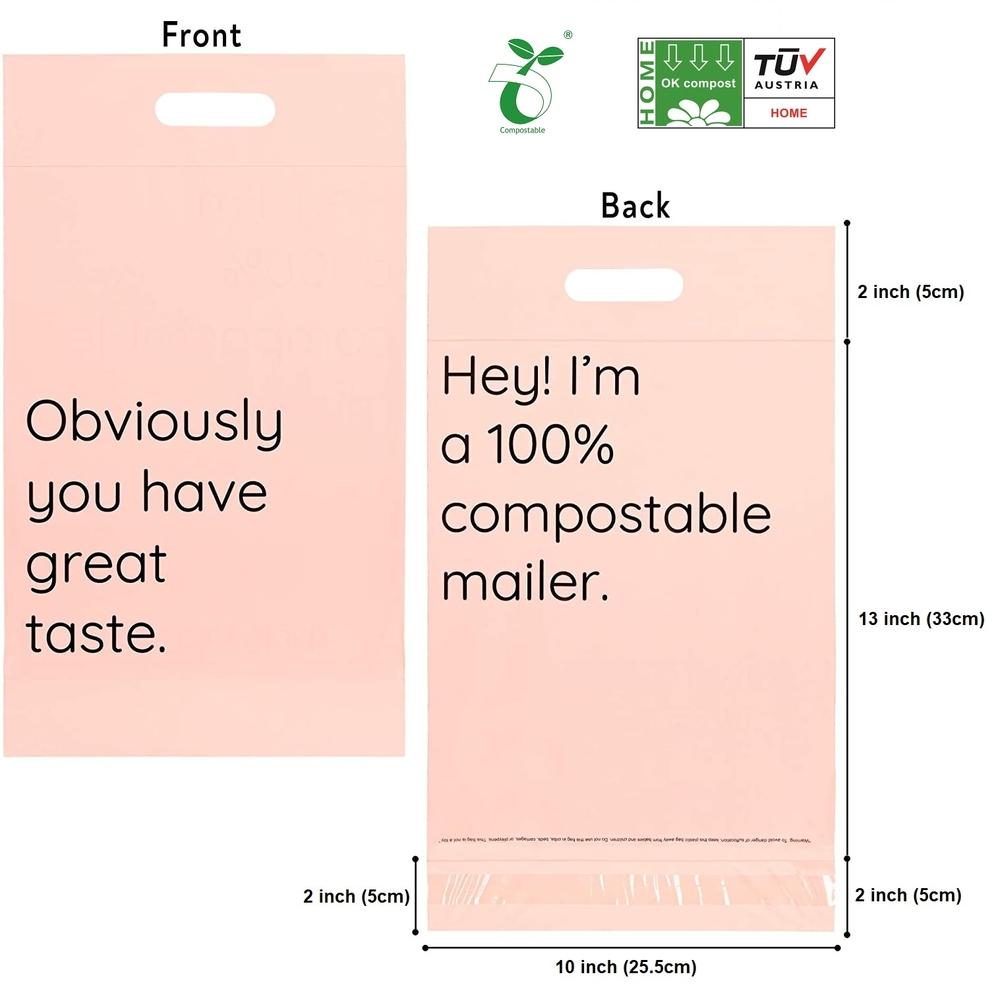 Custom Logo Printed Biodegradable Compostable self Adhesive Mailer bag with handle