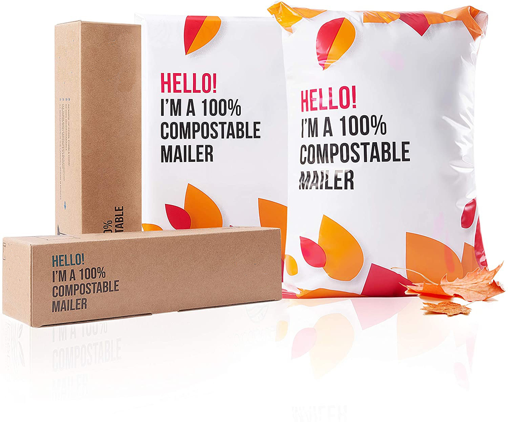 Eco-Friendly Trendy Classy Stretchable WeatherproofCompostable Biodegradable Mailers Sustainable Packaging Envelope PLA mailer