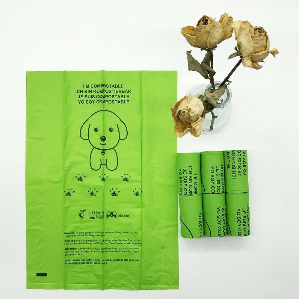 PLA Dog Biodegradable Poop Bag Printed Customized Custom OEM Logo Compostable Dog Poop Bag