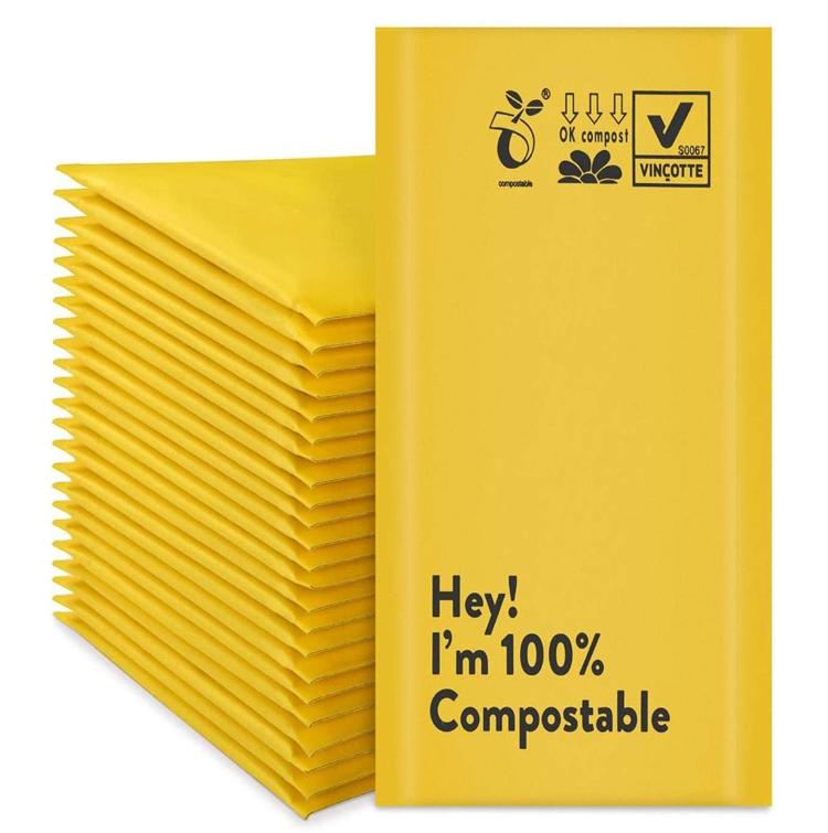 cornstarch base non plastic biodegradable custom printed bubble mailer bag Bubble envelope shipping bag
