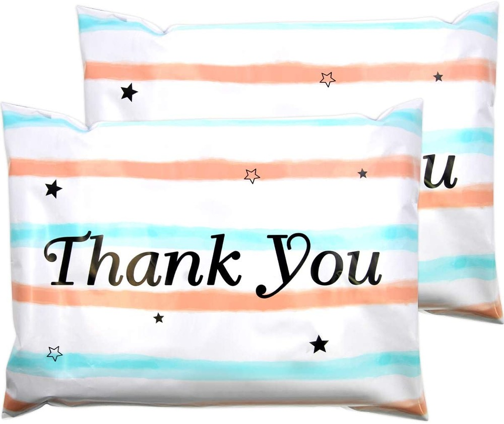 Watercolor Stripes Thank You Compostable Poly Bag Mailer 100 Packs 10 X 13 Shipping Envelopes Self Seal Adhesive