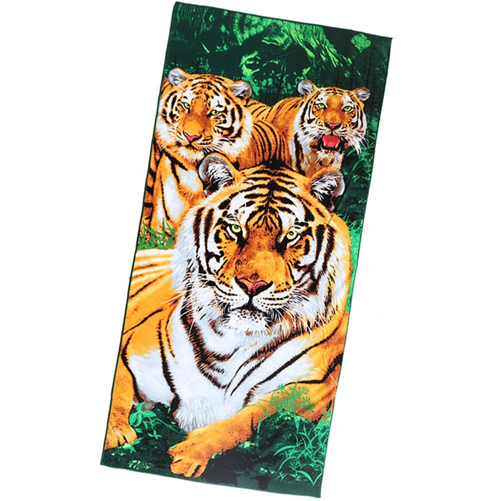 Hot-selling portable polyester printing tiger bath towelbeach blanket for custom
