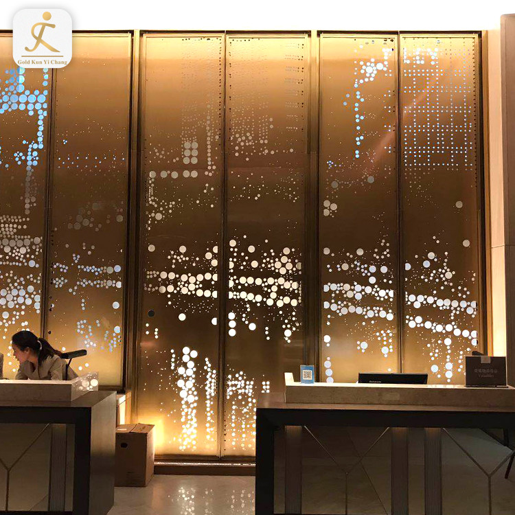 hotel hall interior decoration lobby wall design stainless steel background 3d panel wall metal feature art deco wall panels