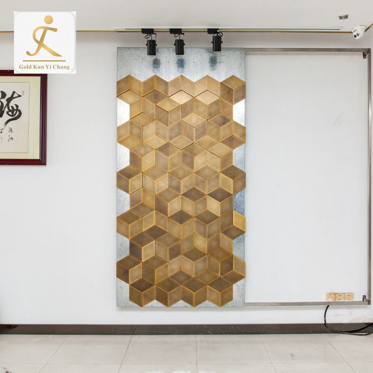 bespoke luxury stainless steel 3D panels interior decoration textured wall board laser cut partition background wall