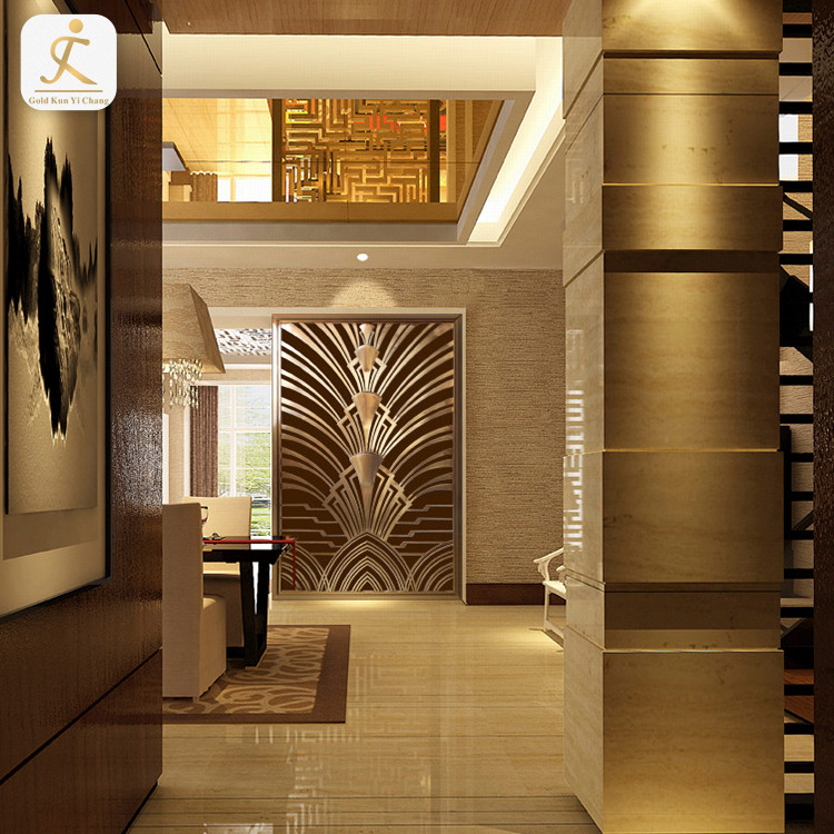 stainless steel tropical style hollow architectural 3d textured decorative pattern wall board hotel 3d indoor metal wall panel