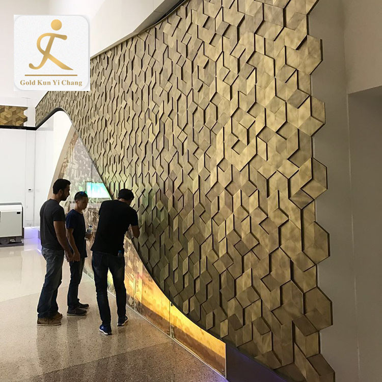 Custom Professional hotel 3d design wall cladding interior decoration wall panel indoor metal decorative stainless steel