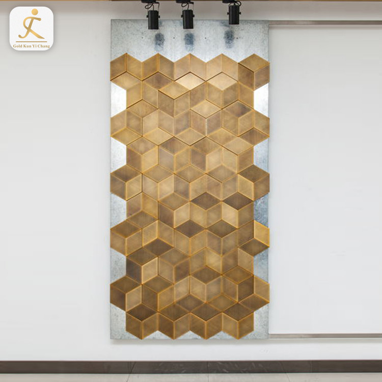 bronze hexagon laser interior stainless steel art decorative metal 3d wall panels backlit laser cut decor partition wall board