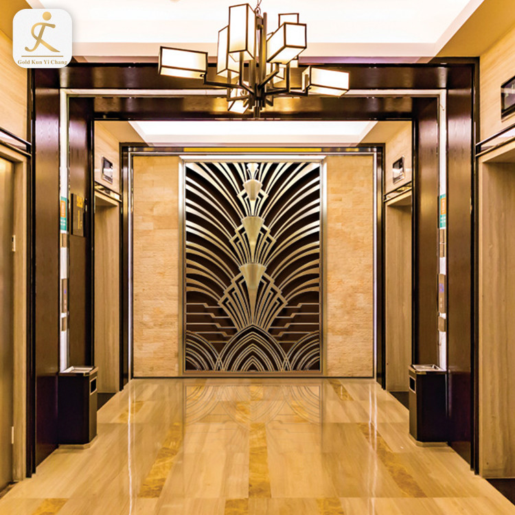 customized stainless steel wall background for hotel lobby