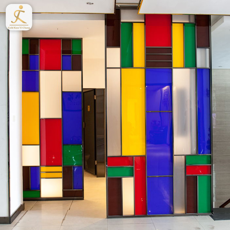 3d decorative coated stainless steel commercial kitchen wall panels fashion metal hot sale 3d colored patchwork wall panels