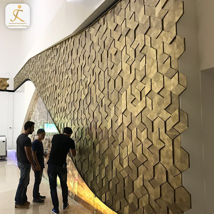 custom 3d multidimensional stainless steel metal wall cladding for hotel decoration