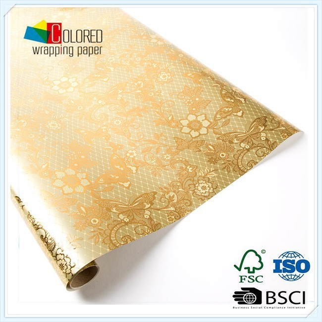 Printed Metallic Paper Aluminium Back Gift Wrapping Paper Factory