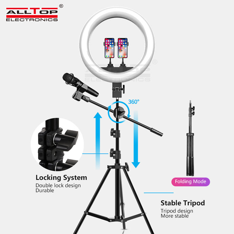 ALLTOP Camera Dimmable USB for Youtube Video Light Smartphone with Tripod Stand Microphone Led Ring Light