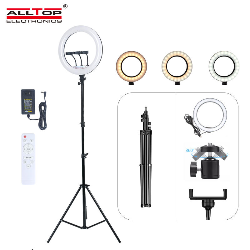 ALLTOP Photography Shooting Live Streaming 2700K-5500K 18inch Cell Phone Holders Tripod Fill Ring Light