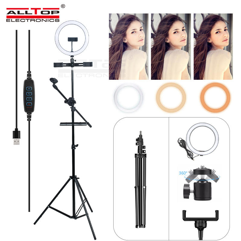 ALLTOP Hot Sale Photo Ring Fill Light with for Smartphone Makeup Video Studio Tripod LED Selfie Ringlight