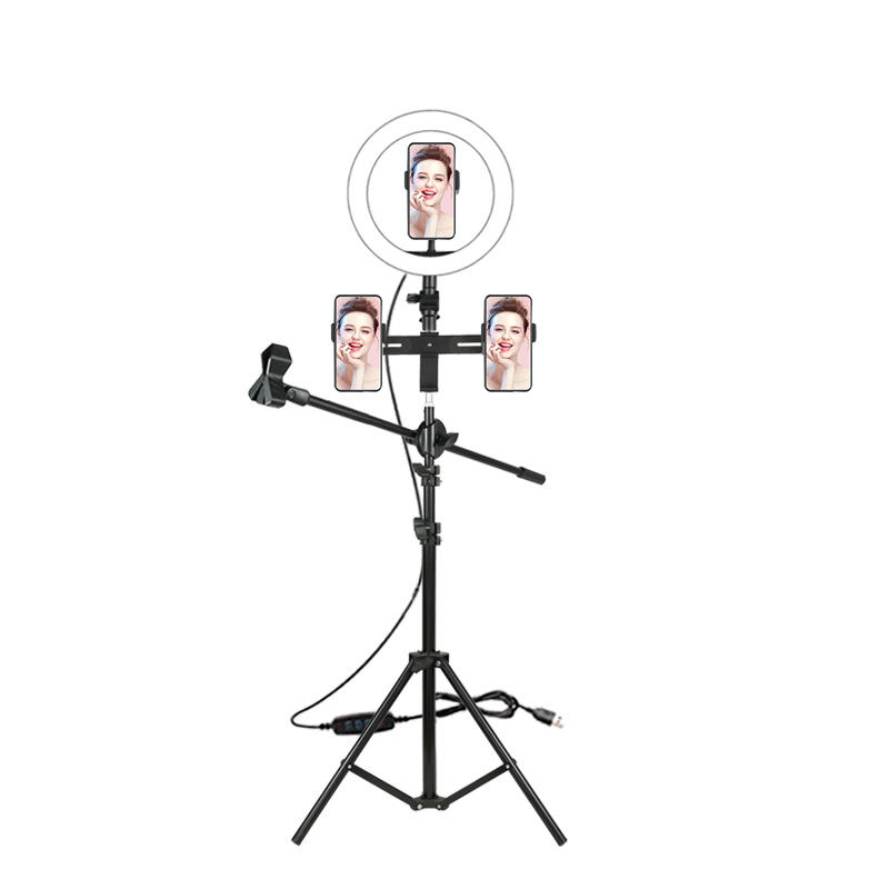 ALLTOP Photography with Phone Holder Tripod Stand for Makeup Youtube Tiktok Dimmable LED Selfie Ring Light