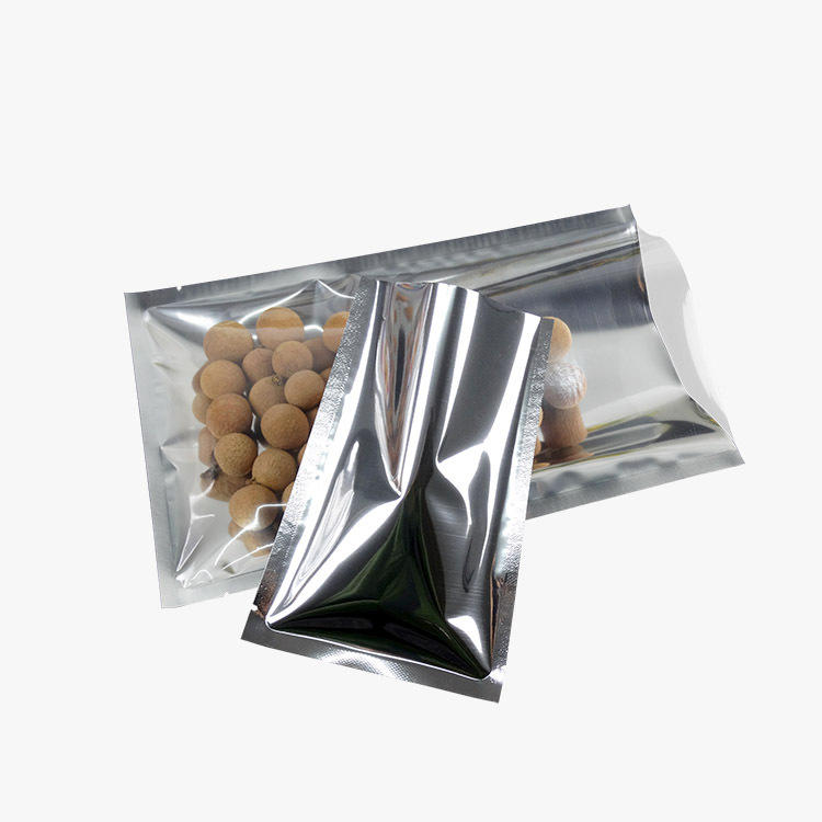 Plain three sided sealing aluminum foil bag with clear front