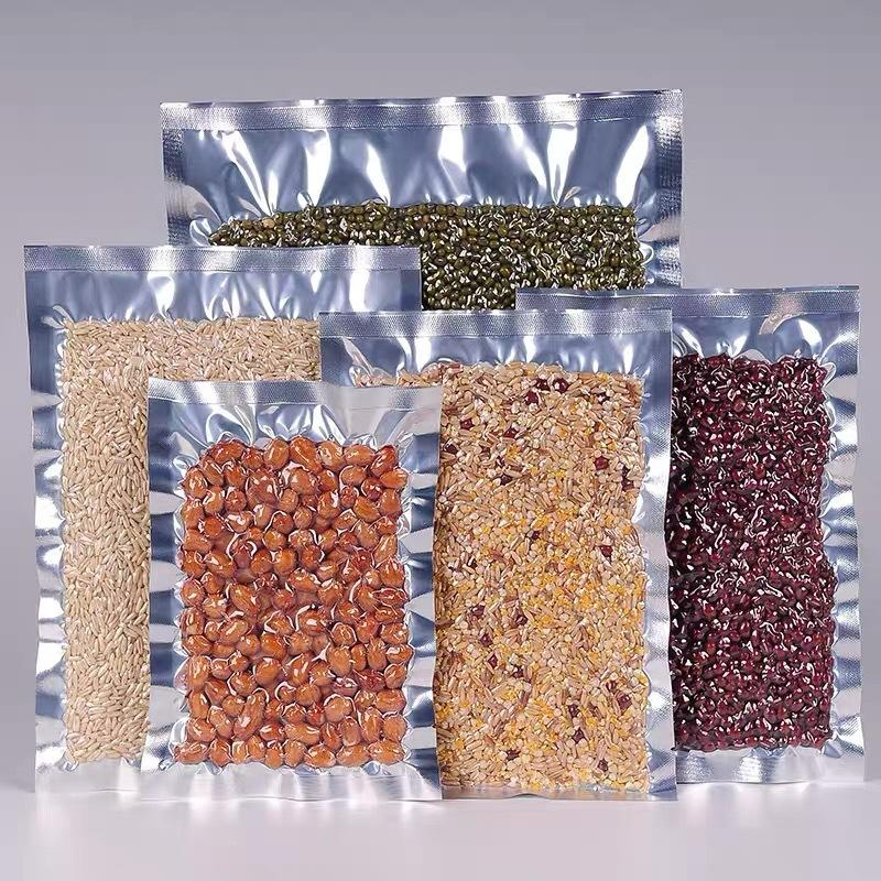 Wholesale Clear Front Silver Back Mylar Vacuum Bags For Food Packaging