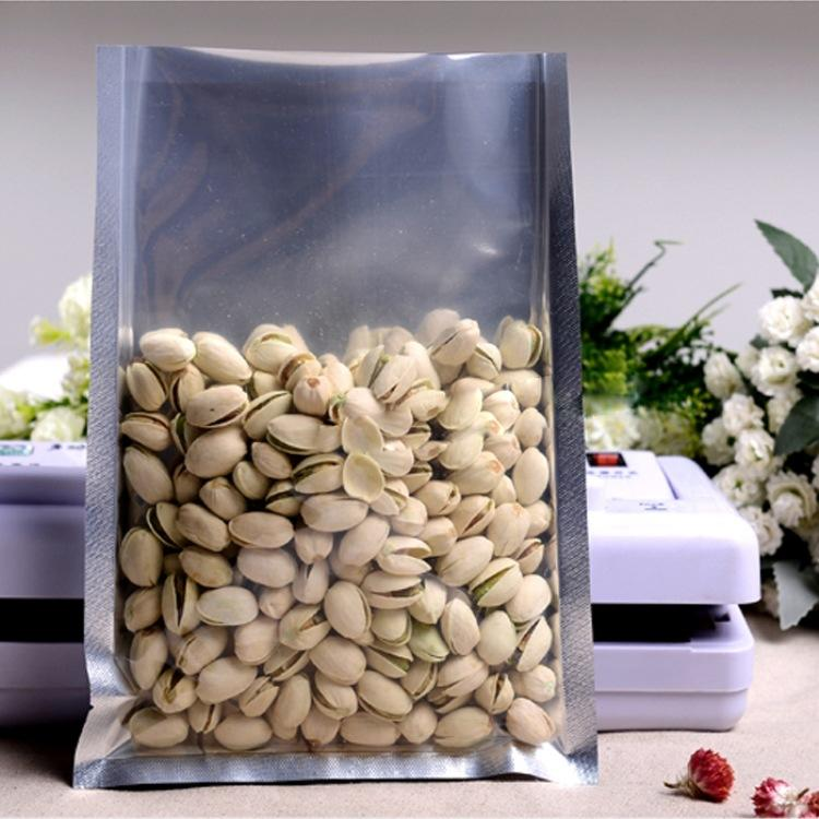 Silvery Aluminium Foil Pouches Front Clear Mylar Heat Seal Cookie Candy Sachet Coffee Food Bag