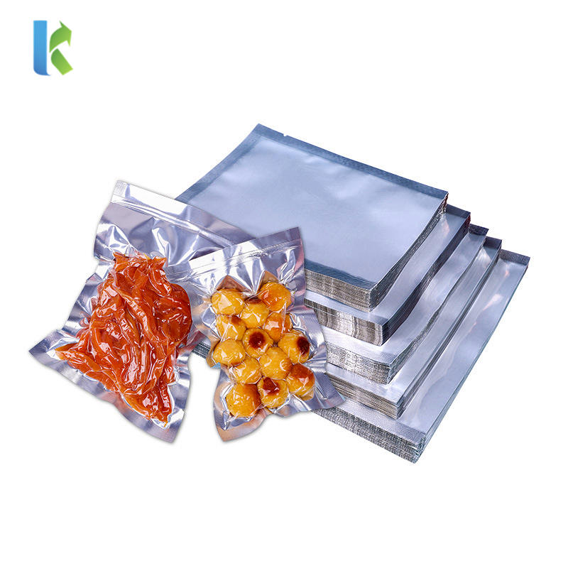 High Quality Clear Silver Aluminum Mylar Foil Lay Flat Bags For Commercial Food Retail Food Storage General Product Packaging