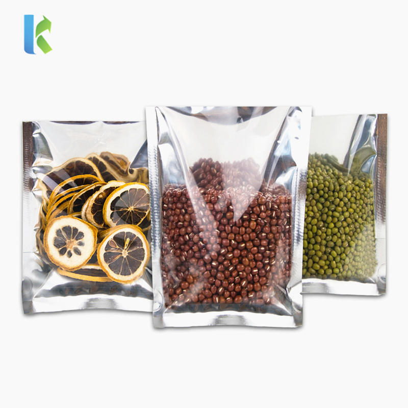 Heat Seal Clear Silver Aluminum Mylar Foil Lay Flat Bags For Commercial Food Retail Food Storage General Product Packaging