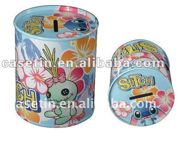 round cylinder money tin can banks