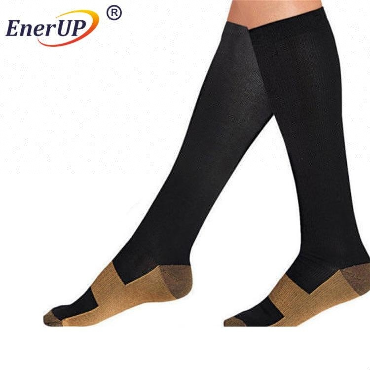 Compression customized logo copper sports long high soccer over knee socks