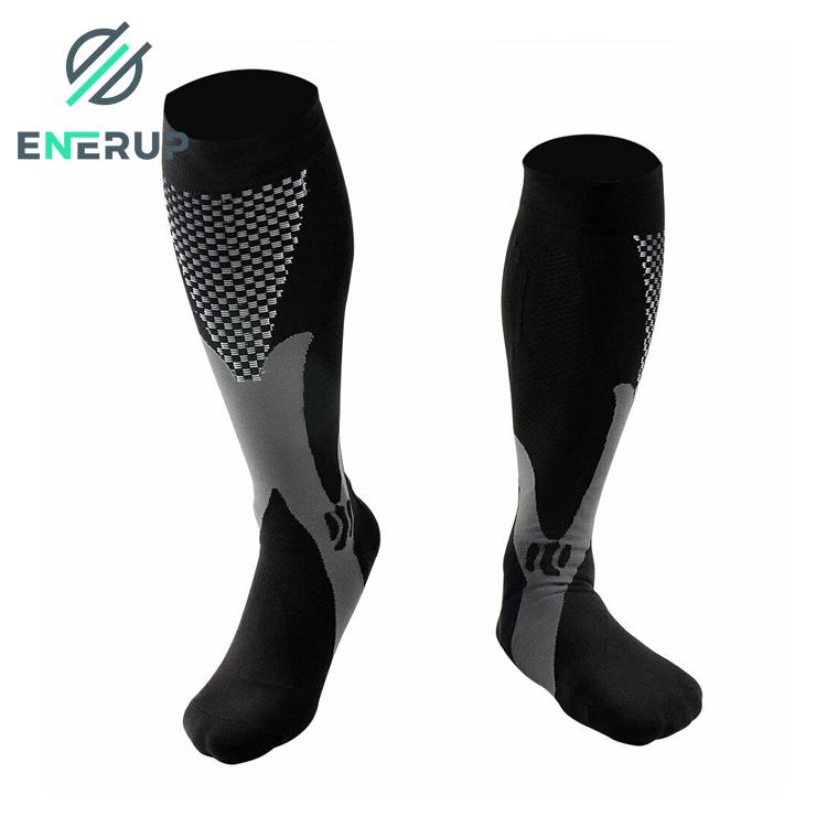 Enerup Running Zipper Custom Nurses Athletic Sports Footcare Graduated Medical Calf Compression Socks Soccer For Women Men