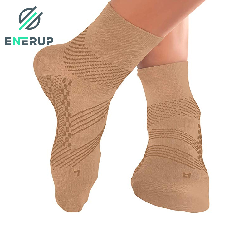 Enerup Zipper Vital Medical Sports Compression Sport Sensory Body Socks Support Knee Stockings Open Toe Beige Wide Calf